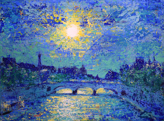 Sunset in Paris, France, painted by acrylic