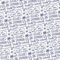 Back to School Supplies Sketchy pattern Background