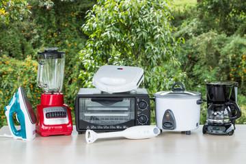 kitchen appliances on natural background