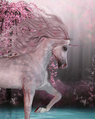 Cherry Blossom Unicorn - The Unicorn horse is a mythical creature with a horn on it's forehead and cloven hoofs and lives in the magical forest.