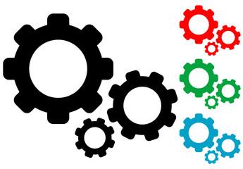 Icono plano engranajes en varios colores