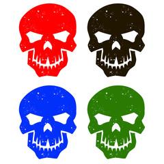Set of silhouettes of skulls