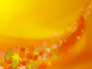 Orange and yellow autumn background with colorful maple leaves