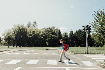 Back to school. Schoolboy walking to school crossing a road.