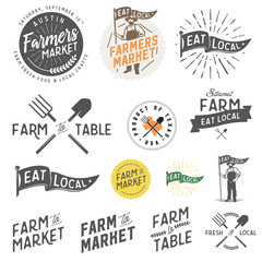 Vintage farm and farmers market labels, badges, emblems and design elements