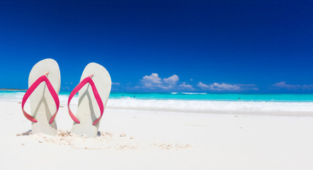 Colorful flip flops on the tropical beach in Cayo Largo, Cuba
