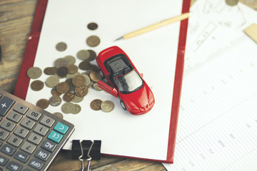 car and money on table