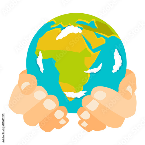 People holding earth  globe in hands concept of happy earth