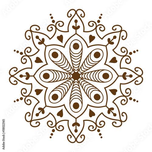 Hand Drawn Henna Abstract Mandala Pattern Flowers And Paisley Doodle Coloring Page Decorative