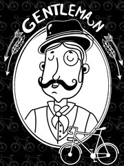 Funny illustration with Elegant gentleman