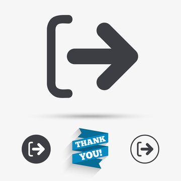 Logout sign icon. Log out symbol. Arrow.