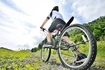 夏の山道をマウンテンバイクで走る