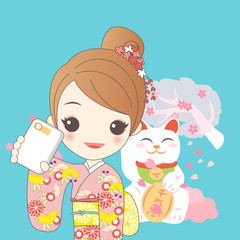 japanese girl with lucky cat