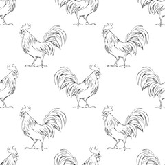 Rooster. Seamless pattern 1. Background with line illustration