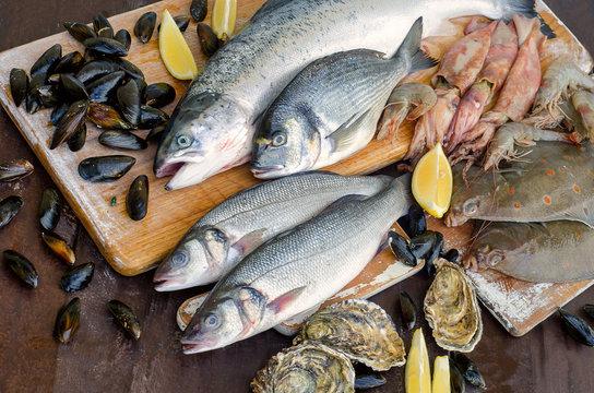 Seafood with fresh herbs. Healthy food