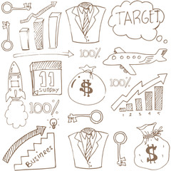 Doodle of business theme stock collection