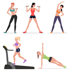 Fitness women female in gym set. Healthy lifestyle girls make yoga exercises and gymnastics. Cardio workout.