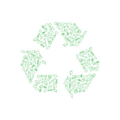 Recycling icons including paper, glass, aluminum, cardboard and plastic