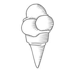 Hand-drawn icecream in cone sketch