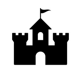 Castle fortress or citadel base flat icon for games and websites