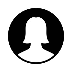 Female user account profile circle flat icon for apps and websites