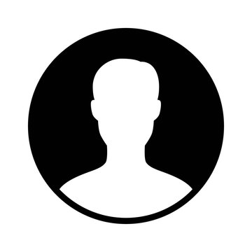 Male user account profile circle flat icon for apps and websites