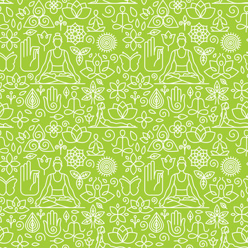 Vector seamless pattern with icons - yoga concepts
