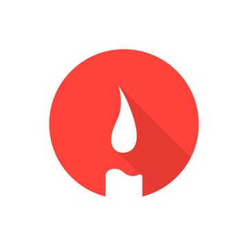 red candle icon with long shadow