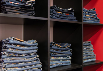 Jeans store: goods on the shelfs