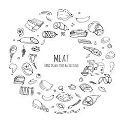 Hand drawn doodle set of cartoon different kind of meat and poultry. Vector illustration set. Sketchy food elements collection: Lamb, Pork, Ham, Mince, Chicken, Steak, Bacon, Sausage, Salami, Veggie.