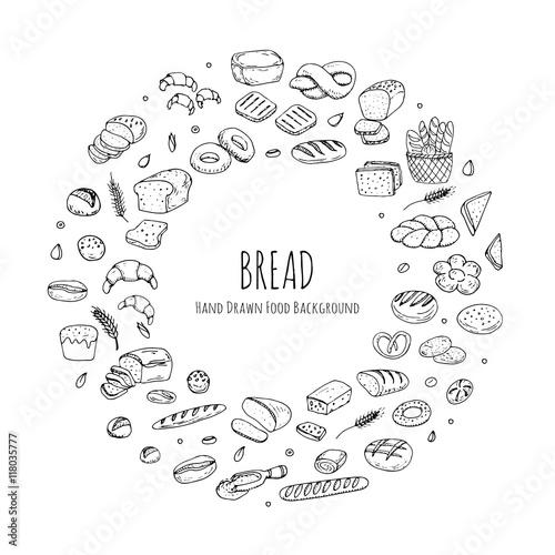 Hand Drawn Doodles Of Cartoon Food Rye Bread Ciabatta Whole Grain