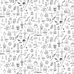 Seamless pattern hand drawn doodle Magic icons set. Vector illustration. Cartoon sorcery concept. Wizardy, witchcraft symbols and elements: wand, love potion, fairy book, tale, snake, crystal ball.