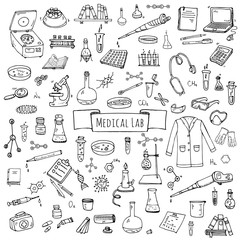 Hand drawn doodle Medical laboratory icons set. Vector illustration. Chemical lab symbol collection. Cartoon medicine and healthcare elements: research tools, substance and molecules, lab coat, mask