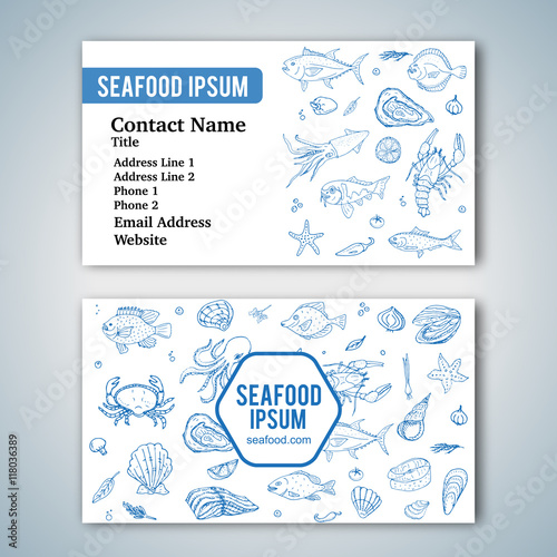 Business card template with hand drawn doodle seafood icons for business card template with hand drawn doodle seafood icons for restaurant vector illustration cartoon reheart Choice Image