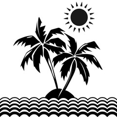 Palm trees and sun design elements