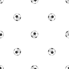 Soccer balls seamless pattern in black and white