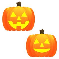 ジャックオーランタン、かぼちゃ、南瓜、バターン、表情違い、バリエーション、シンプル、キレイ、鮮明