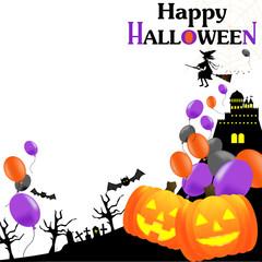 ハロウィン、HALLOWEEN,ハロウィーン、風船、バルーン、かぼじゃ、魔女、背景、白バック、正方形