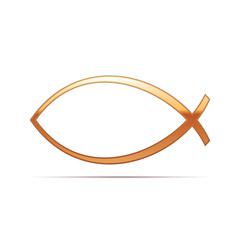 Gold Christian fish icon on white background. Vector Illustration