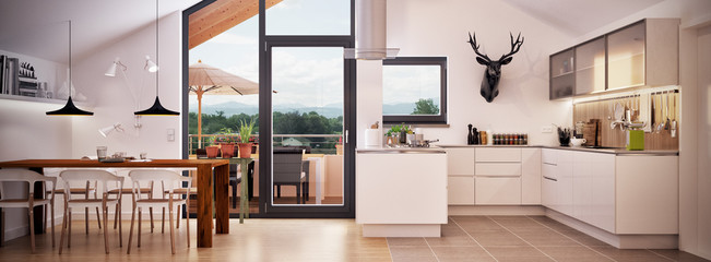 Wohnküche in Neubau Dachgeschoss Wohnung - panorama view inside kitchen loft apartment