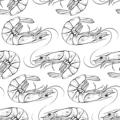 Shrimps seamless pattern. Vector black and white illustration.