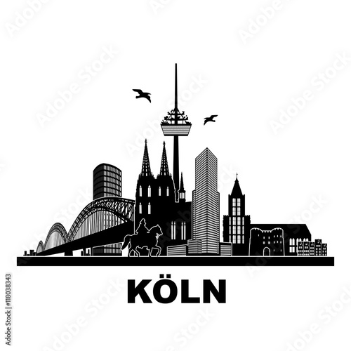 k ln panorama skyline wandtatoo sehensw rdigkeiten k lner dom hohenzollernbr cke rathaus. Black Bedroom Furniture Sets. Home Design Ideas