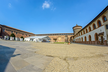 The area of the ancient castle Castello Sforzesco (Sforza Castle) in Milan, Italy