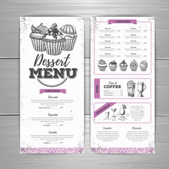 Vintage dessert menu design. Sweet cupcake