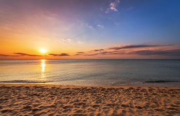 Beatiful sunrise on the tropical beach.