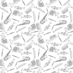 Hand drawn sketch illustration seamless pattern background of Wind instruments set isolated on white