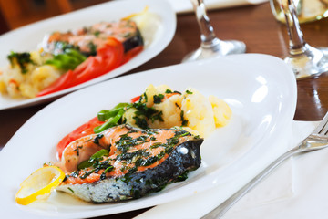 Grilled salmon fish on  dish