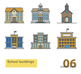 school building colorful icons. Outline vector illustration.