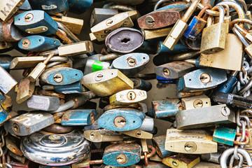 Locks of love background, symbolic objects
