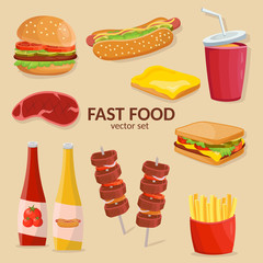 Colorful cartoon set of fast food vector isolated icons. Ketchup, sauce, mustard, french fries, hamburger, potatos, hot dog.